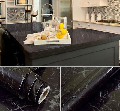 Black Marble Waterproof Self-adhesive Wallpaper Decor Vinyl for Kitchen Home Black Vinyl Self Adhesive