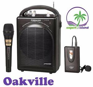 PylePro PWMA200 Rechargeable Portable PA System with Wireless Lavalier / Headset MIC and 1 Wired Mic