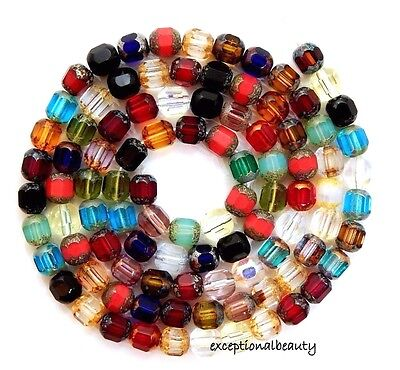 100 Assorted Preciosa Czech Fire Polished Glass 6mm Faceted Cathedral Mix Beads ()