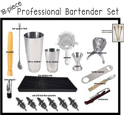18-piece Professional Bartender Kit Mixologist Set Wsignature Party Picks