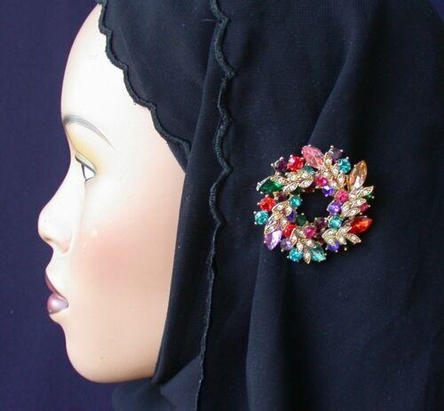 Crystal Fashion Hijab Pin Abaya Wreath Hijab Pin Multi color Lapel Pin