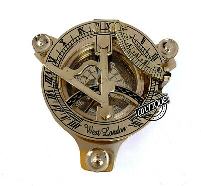 Handmade Brass Compass Vintage Nautical West London Sundial Working Compass Gift