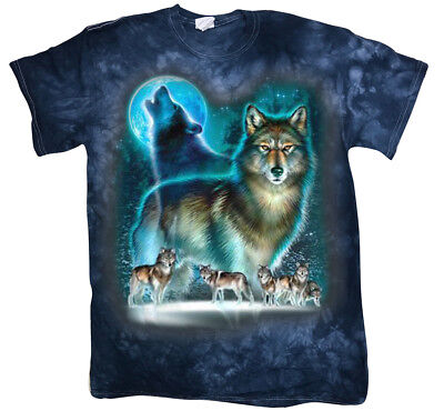 Men's Tie Dye T-shirt Wolves Wolf Pack Wolf Moon Design Graphic Tee Mens Gifts Wolfpack Designs