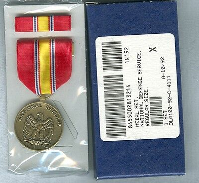 NATIONAL DEFENSE SERVICE MEDAL & RIBBON BAR GI ISSUE set
