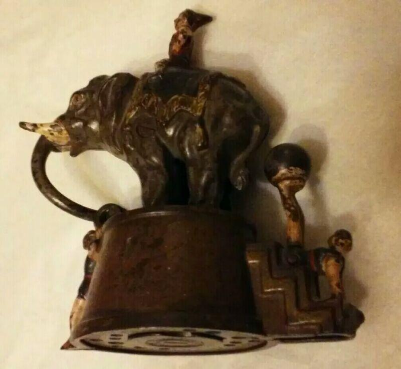 Antique J&E Steven Cast Iron Elephant Clowns Circus Mechanical Bank Pat. 1882