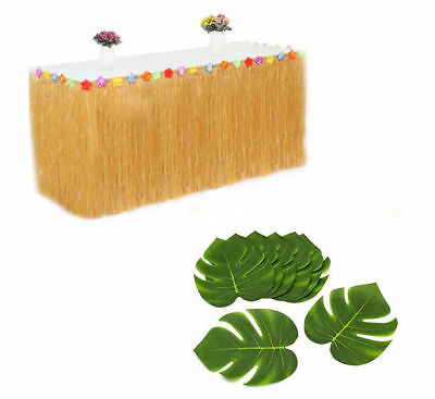 Hawaiian Party SET - 12 Green Tropical Leaves, 1 Brown Grass Table Skirt  - Hawaiian Table Skirt