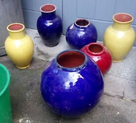 coloured vase's light weight lightly glazed in brights colours for car booter or display