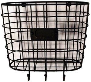 metal wire basket wall pocket mail holder organizer with key hooks vintage style ebay. Black Bedroom Furniture Sets. Home Design Ideas