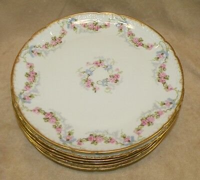 SET OF 6 ANTIQUE CF FIELD HAVILAND LIMOGES PINK ROSE SWAG 7