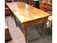 Vintage five plank farmhouse pine table