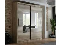 New sliding doors wardrobe Boston,Wardrobe with mirror,White wardrobe Amk Furniture, Polskie meble