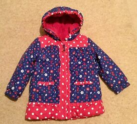 Girls coat/jacket by Blue Zoo. Age 3-4 years. Worn for 2 hours only! As new condition.