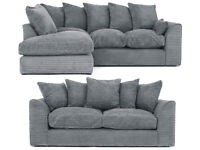 DYLAN JUMBO CORD GREY 3+2 SEATER OR CORNER SOFA | 1 YEAR WARRANTY | UK EXPRESS DELIVERY