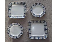 4 VINTAGE WEDGEWOOD BLUE/BLACK GRECIAN PATTERN PLATES