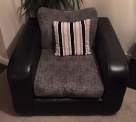 Swivel Armchair Black/Grey, Leather/Fabric
