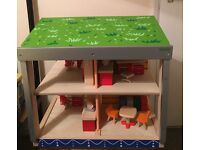 Pintoy Wooden dolls house eco lodge + Plan toys furniture + Eco windmill