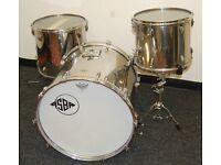 """Vintage 70s Asba Stainless Steel Drum Kit 22,14,16"""" - Like Ludwig"""