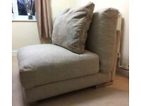 BEIGE LINEN FABRIC SECTION OF SOFA WITH CUSHION EX DISPLAY