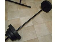 Hollow Chrome Barbell+ 2 spring collars+ 17.5kg weights house clearance !!! Bargain !!!