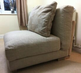LOVELY HIGH QUALITY BEIGE LINEN FABRIC SECTION OF SOFA WITH CUSHION EX DISPLAY