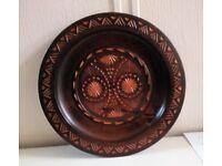 Vintage Carved Wood Plate Plaque
