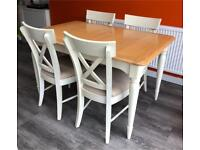 Solid Wood Cream & Oak Extendable Table and 4 chairs