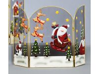 Premier Christmas Triple Panel Fireguard with Santa / Reindeer - 49cm