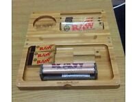 Authentic RAW Bamboo Magnetic Backflip Rolling Tray + 3 Rolling Papers + 3 Tips + 1 Roller
