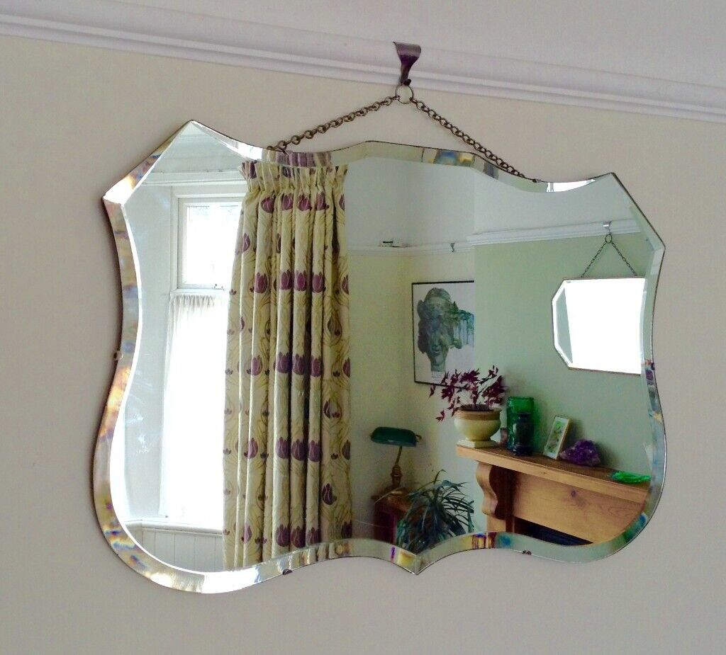Vintage Antique Art Deco Wall Mirror Shield Shape Mid Century Large In Whitchurch Cardiff Gumtree