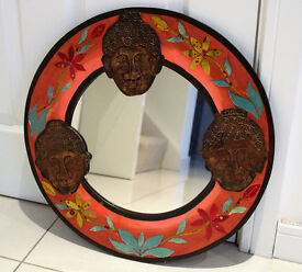 Handcrafted Wooden painted Buddha Mirror