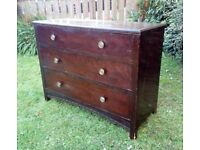 Sturdy Vintage Wood Chest of Drawers for Upcycling
