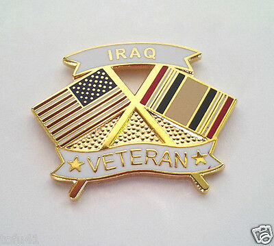 IRAQ VETERAN CROSSED FLAGS Military Veteran Hat Pin 14633 HO