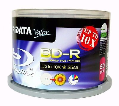 50-pk 10x Ridata White Inkjet Hub Printable Blu-ray Bd-r Blank Disc 25gb