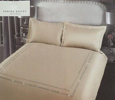 Karina Bailey | Isla Diamanté Border | King Size Duvet Bedding Set | Gold, Beige