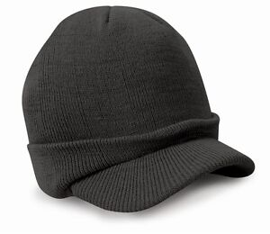 Esco Peaked Army Beanie Hat Warm Wooly Winter Mens Ladies Cadet Ski Result Cap