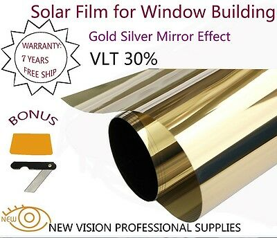 Film Tint Solar Gold Silver Mirror Effect For Window Building Vlt 30  75Cmx6m