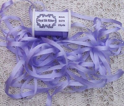 """100%PURE SILK EMBROIDERY RIBBON 1/8""""[4MM] WIDE 25 YARDS~ PERIWINKLE ~ COLOR"""