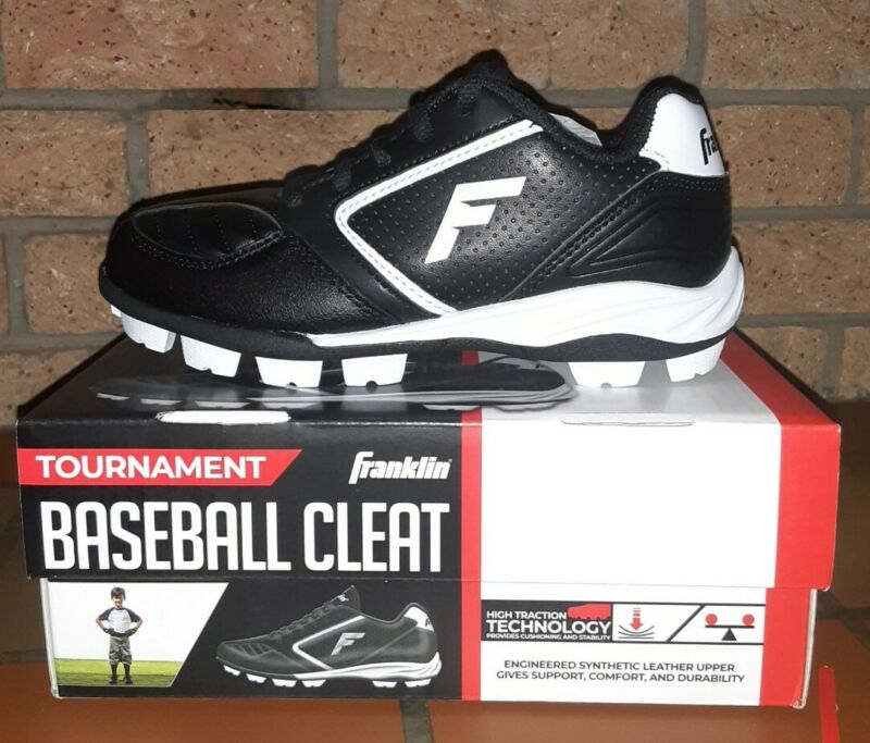 Franklin Tournament Baseball Cleats Black & White Youth Size 13 / NEW W/ BOX