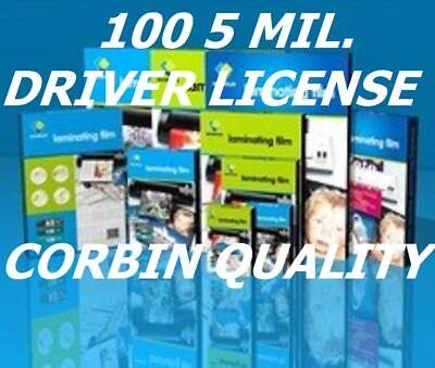 100 Driver License 5 Mil Laminating Pouches Laminator Sheets 2-38 X 3-58  Cq