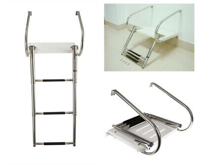 - Boat Ladder 3 Step Stainless Steel Inboard Swim Transom Platform with Two Rail