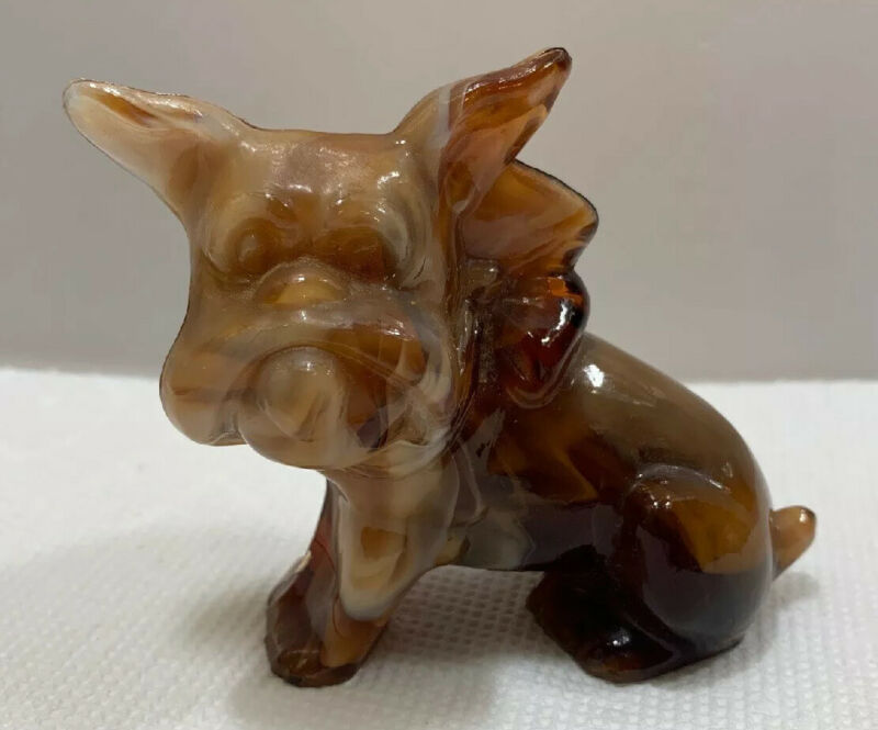 Imperial Glass Caramel Slag Bull Dog In Bow Or Terrier Dog Paperweight Figurine