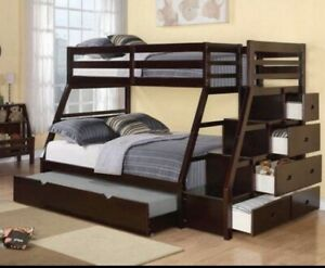 Single over double bunk bed with bonus trundle bed.