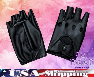 Gothic Gloves (New Fingerless Circle Biker Punk Goth Driving Womens Faux Leather Gloves)
