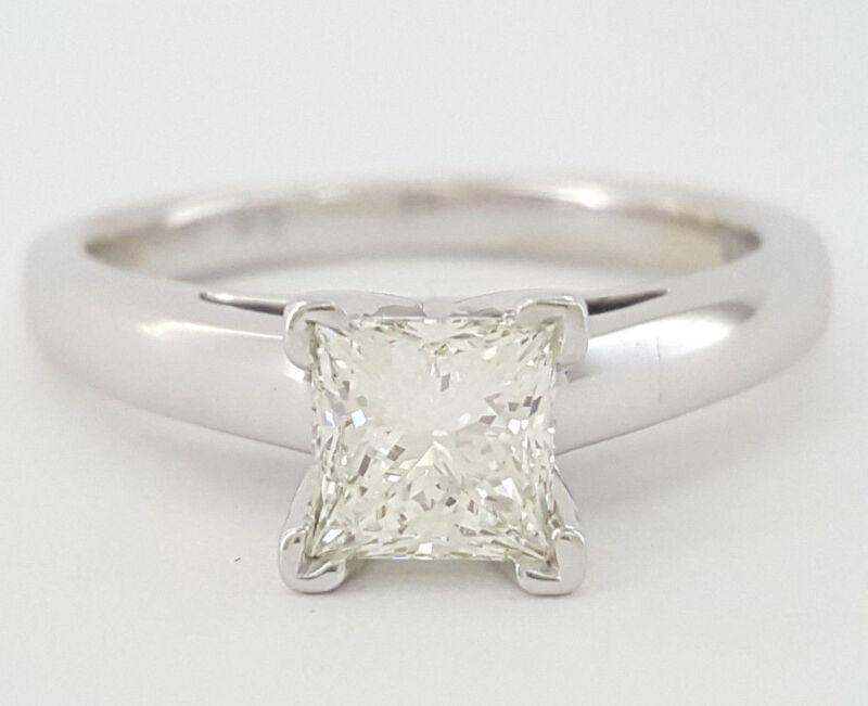 0.82 Ct 14k & Platinum Leo Princess Diamond Solitaire Engagement Ring Gsi