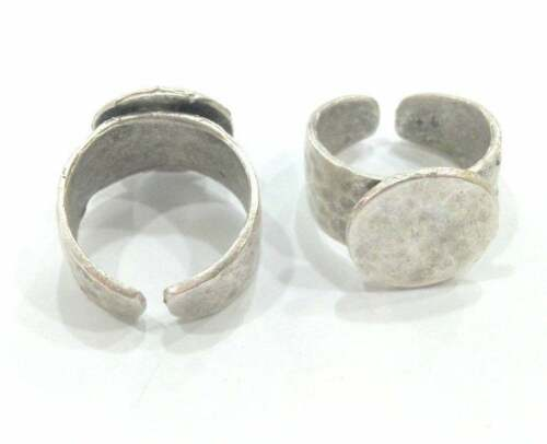 Silver Ring Blank Base Bezel Setting Antique Silver Plated Brass Adjustable 9451