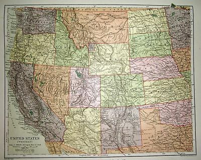 STANFORD'S 1892 MAP OF UNITED STATES (WESTERN) IDAHO &C