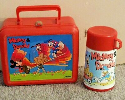 Vintage Lunch Box W Thermos Disney By Aladdin Plastic Mickey Donald Pluto  (Pluto Lunch-box)