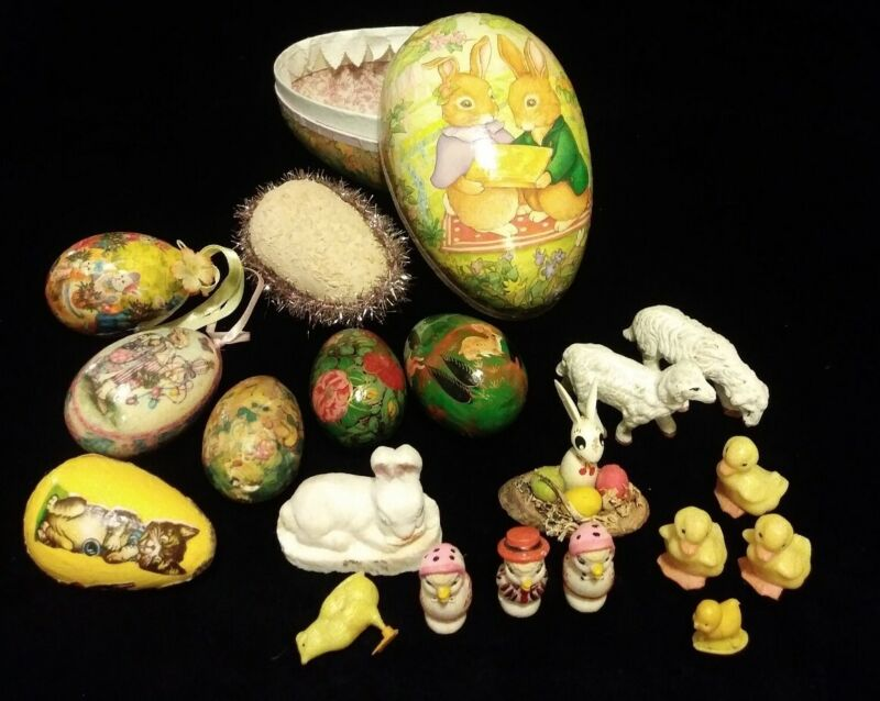 Antique/Vintage Easter Decorations -RARE Bunny Rabbits Eggs Chicks Lambs LooK!!!