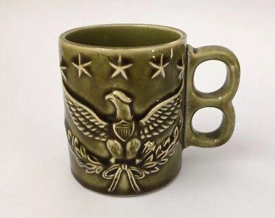 Vintage Made In Japan Two-finger Handle Mug 5 Stars & Eagle Americana Green Mug