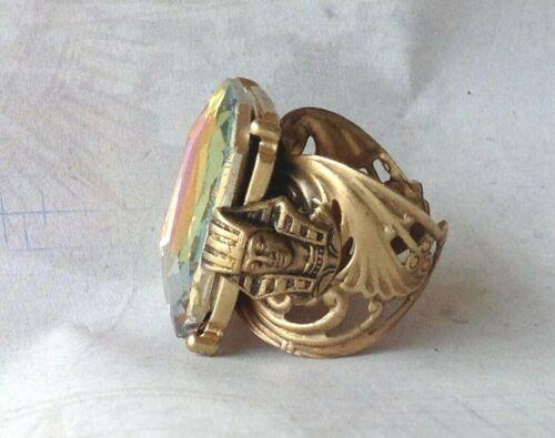 Vintage Ring Egyptian Pharaoh King Tut Detail Tall Rainbow Rhinestone Adjustable